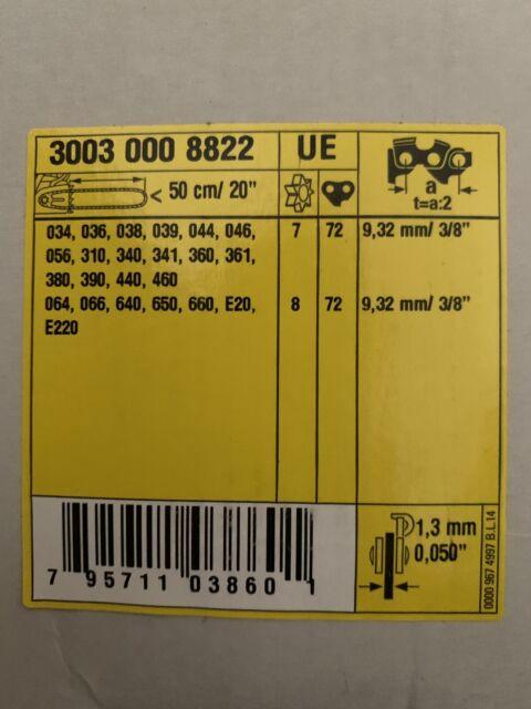 "New Stihl 20"" Rollomatic Chainsaw Bar 72 Drive Links 3003 000 8822"