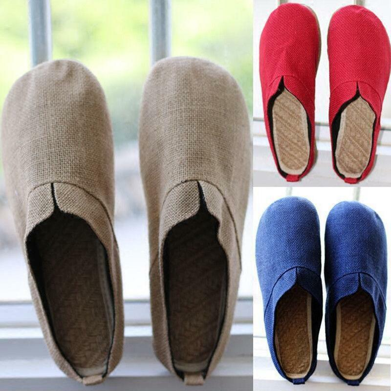 Magic Mens hemp slippers mules Vintage close toes Shoes Slip On Loafers Comfy
