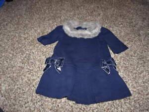 fdbec69d9 JANIE AND JACK 12-18 NAVY BLUE FAUX FUR TRIM DRESS STARRY NIGHT