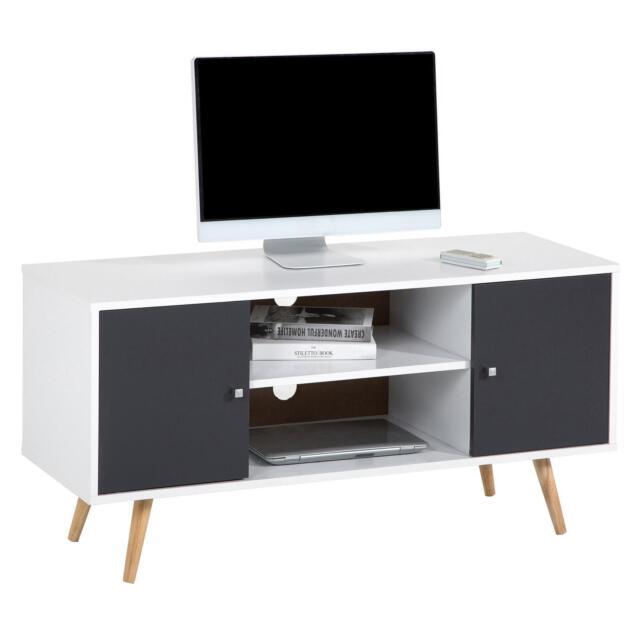 SECOND CHOIX - Meuble TV MURCIA, style scandinave décor blanc mat et gris mat