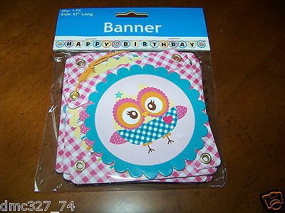 1 Girls HAPPY BIRTHDAY Party OWL YOU'RE A HOOT Paper JOINTED MINI LETTER BANNER