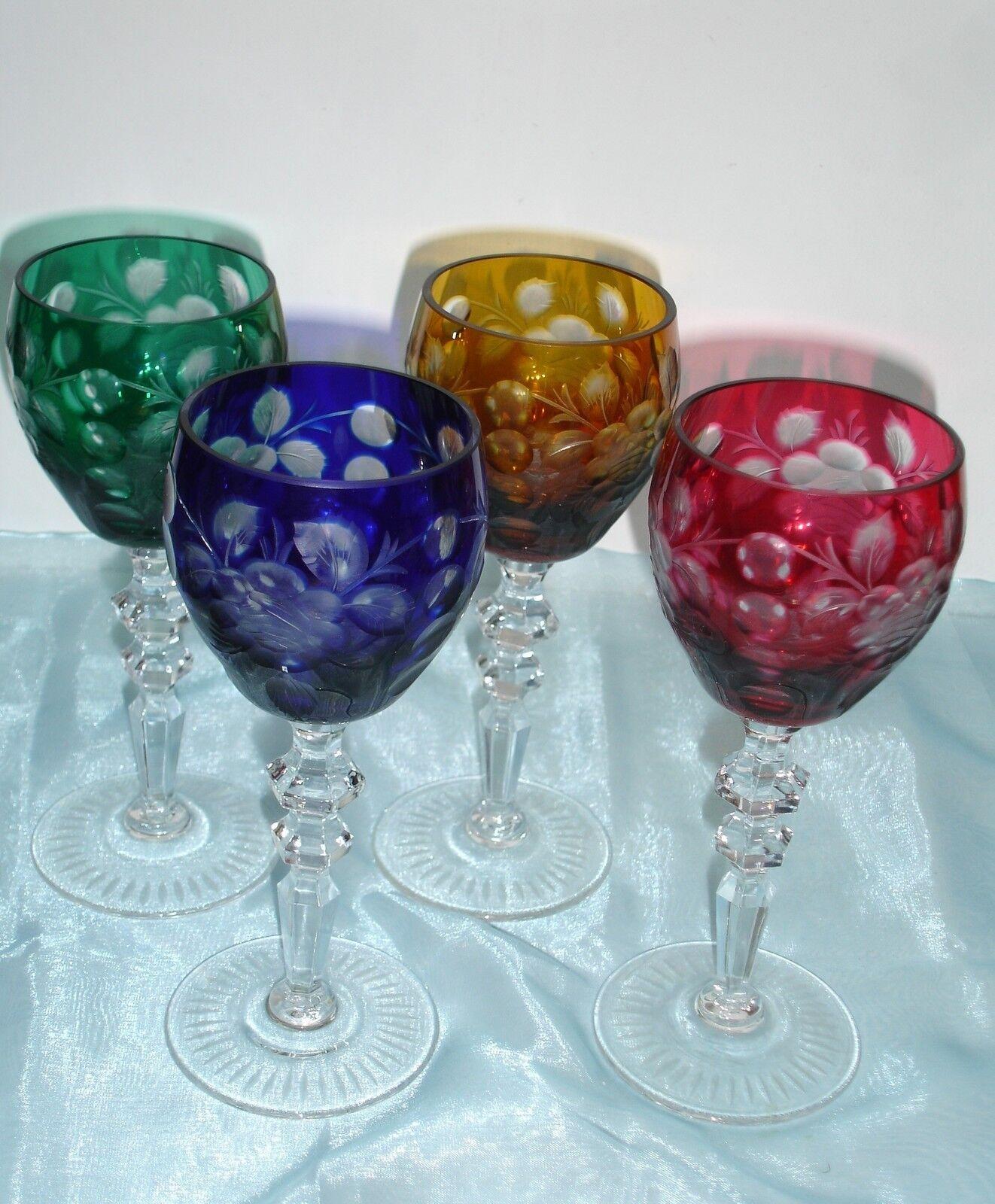 4 cristal romains, en couleur, avec taille d'une rose  bleikristall  überfang verre