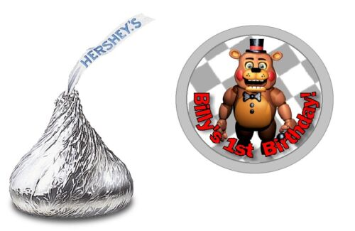 FIVE NIGHTS AT FREDDY/'S PERSONALIZED HERSHEY KISS LABELS BIRTHDAY PARTY FAVORS