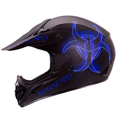 BLUE BIOHAZARD MATTE BLACK MOTOCROSS ATV DIRT BIKE HELMET [DOT] S/M/L/XL