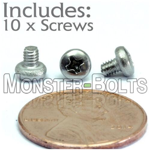 Qty 10 Stainless Steel Phillips pan head Mach Screws M2.5 2.5mm x 0.45 x 3mm