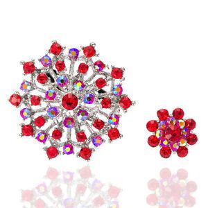 style-vintage-rouge-mere-et-enfant-Broche-deux-broches-grosse-petite-fleur-br347