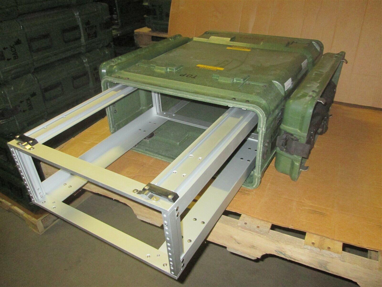 Rackmount 04U x24 Slide Out General Dynamics Composite Shock Mount Rack Case A1
