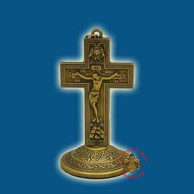 Metal Orthodox Byzantine Standing Cross Crucifix Orthodoxes Kreuz Kruzifix 9x5cm