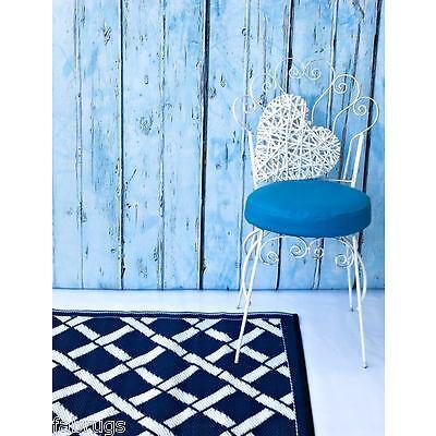 FabHabitat Rugs Mats Reversible Indoor Outdoor TOLEDO Blue & White 150X238cm