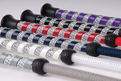 Harlequin Crystal Spiral Handle  Bling Horse Riding Jumping Whip Crop 6 Colours