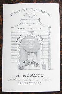 CARTE DE VISITE COMMERCIALEETABLISSEMENT DE CHEVAUX ANGLAIS