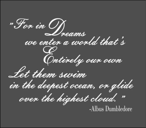 Wall Sticker Custom Dumbledore in Dreams Harry Potter Decal Quote Fantasy