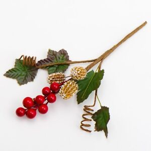 Christmas Flowers Red Berry Spray Holly Pine Cones Cake Decorations Buttonhole Ebay