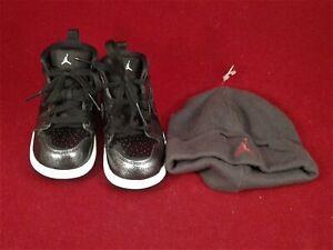 Nike-Air-Jordan-1-Retro-Black-Baby-Shoes-Sz-6C-705304-017-amp-Gray-Baby-Hat-Cap