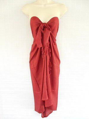 One Size Pareo Sarong Bikini Cover Up Scarf Beach Luau Solid Dress Burgundy
