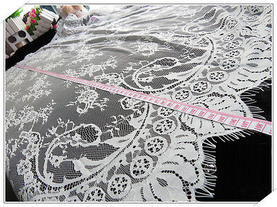 "Lace Embroidery Fabric Retro Trim Tulle Rose Floral  Wedding Fabric 43""x59"""