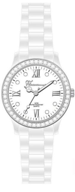 Orologio Cronomagic B2509G-Bianco policarbonato donna brillantinato