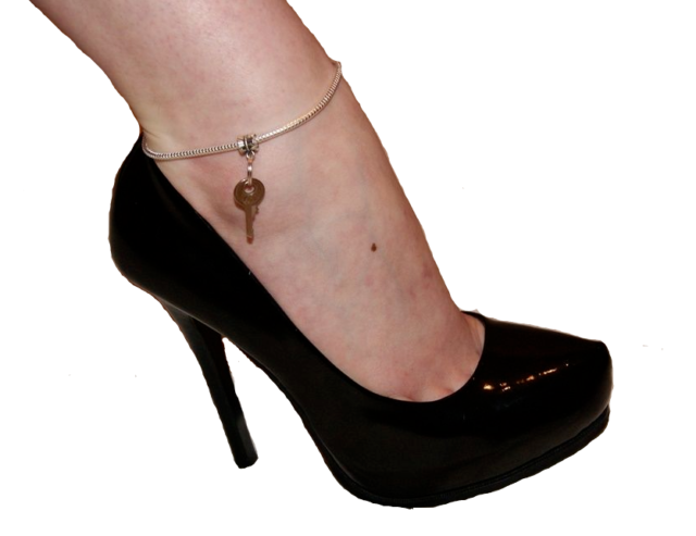 Y Euro Anklet Ankle Chain Jewellery Keyring Keyholder Mistress Sissy