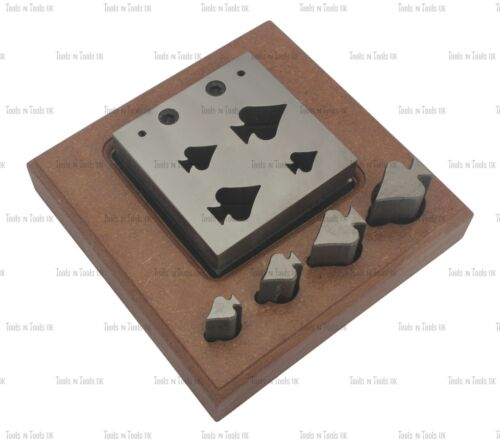 4 PUNCHES SPADES DESIGN STEEL DISC CUTTERS JEWELLERY DAPPING CUT METAL SHEETS