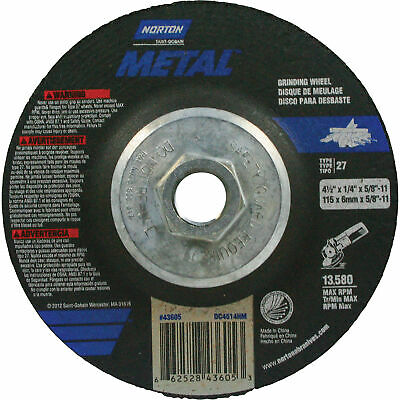 5 Each 4-1//2 x 1//4 5//8-11 Type 27 Carborundum Gold Premium Grinding Wheel Disc