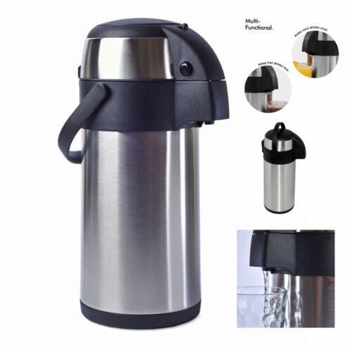 3 Litre Stainless Steel Airpot Vacuum Flask Thermos Jug w// Pump Action Up to 24H