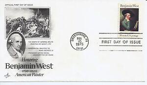 Us-Scott-1553-Premier-Jour-Officiel-2-10-75-Swarthmore-Unique-Benjamin-West
