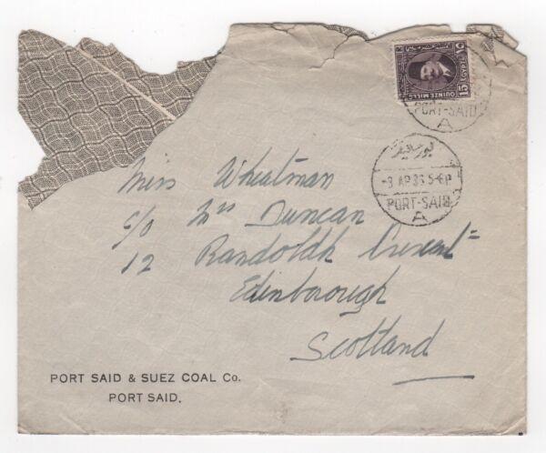 1938 L'egypte Cover Port Said To Edinburgh Scotland Suez Coal Co