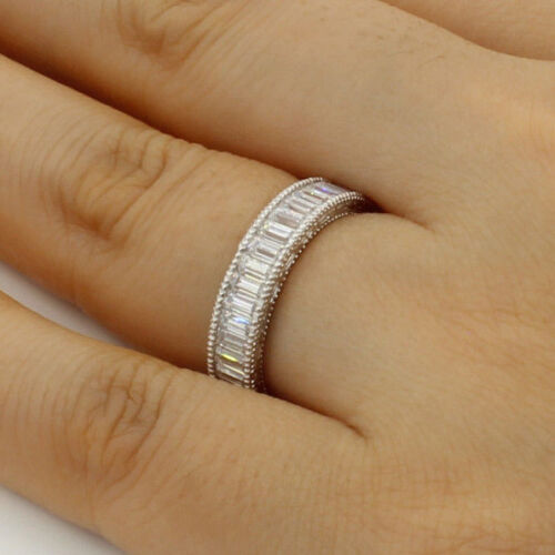2.50 Ct 14K White Gold Baguette Eternity Endless Wedding Anniversary Ring Band