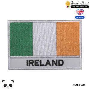 Ireland-National-Flag-With-Name-Embroidered-Iron-On-Sew-On-Patch-Badge
