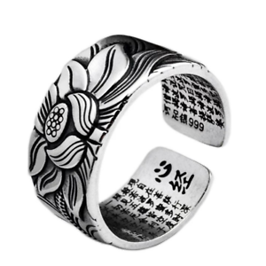 999-Sterling-Silver-Adjustable-Open-Ring-Buddhist-Mantra-Lotus-Flower-Ring