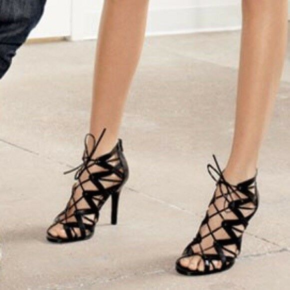 Leopard Caged Strappy Lace Up Crisscross Caged Leopard Gladiator Patent High Heel Sandal 8 476b13