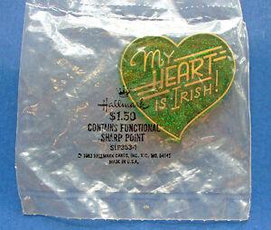 Hallmark-PIN-St-Patrick-Vintage-MY-HEART-IS-IRISH-Gold-GLITTER-Holiday-MIP