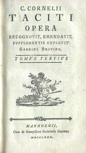 Brotier-C-Cornelius-Tacitus-Opera-Tomus-Tertius-Mannheim-MDCCLXXX-1780