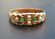 Stunning Antique Victorian 9ct Rose Gold Emerald & Pearl Ring c1900; UK Size 'Q'