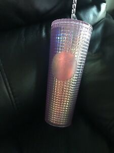New! Starbucks Iridescent Pink Grid Disco Holiday 2020 Cold Cup Tumbler 24oz