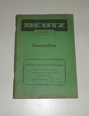 Stand 07/1960 Parts Catalog/spare Parts List Deutz Diesel Tractor 50ps Agriculture/farming
