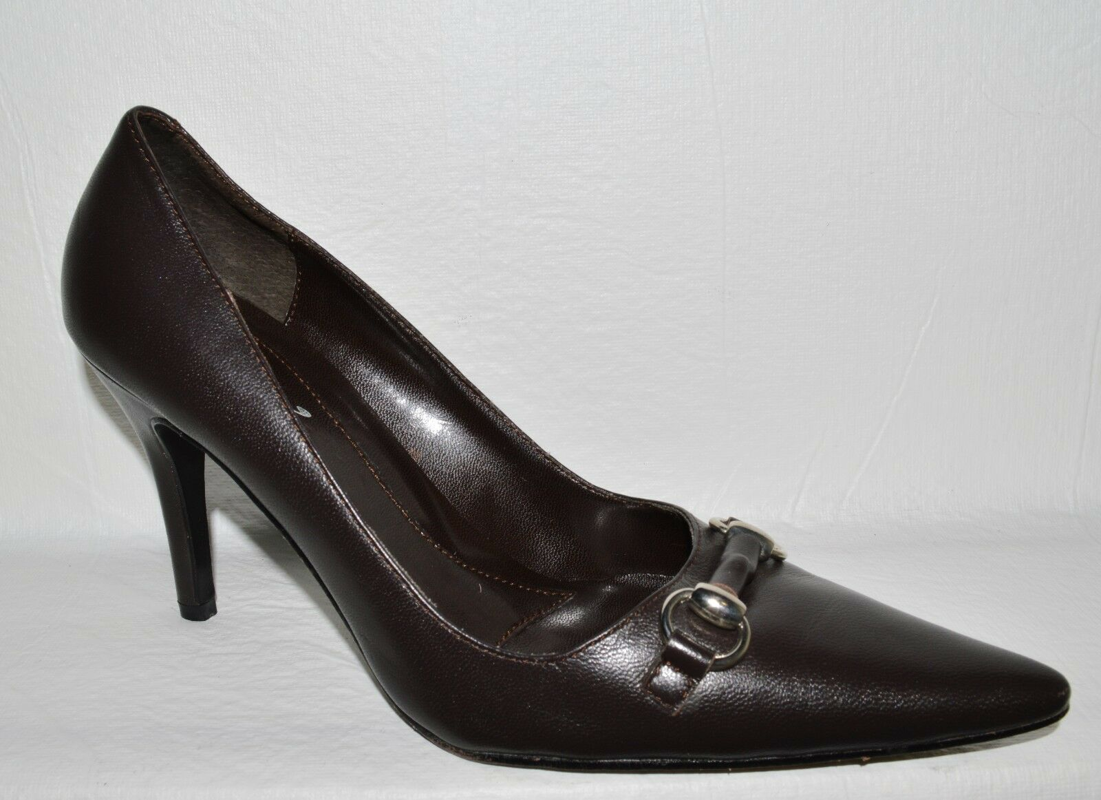 MV MV MV MARTINEZ VALERO SZ 8 M BROWN LEATHER PUMPS HEELS DRESS SHOES 2d84fd