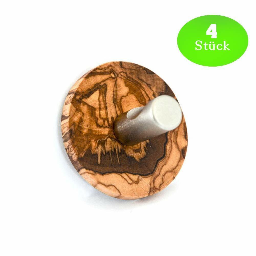 4  x Design Olivenholz Edelstahl hochwertiger Handtuchhalter Halter OHNE Bohren