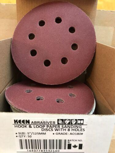 180 GRIT 5 IN KEEN HOOK /& LOOP SANDING DISCS DUST-FREE 32460 200//PACK