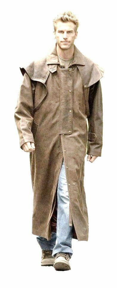Herren Braun Real Leder DUSTER STEAMPUNK Riding Trench Coat  Most Größes