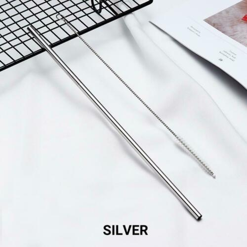 Reusable Eco-friendly Straight Silver Stainless Steel Metal Drinking Straw