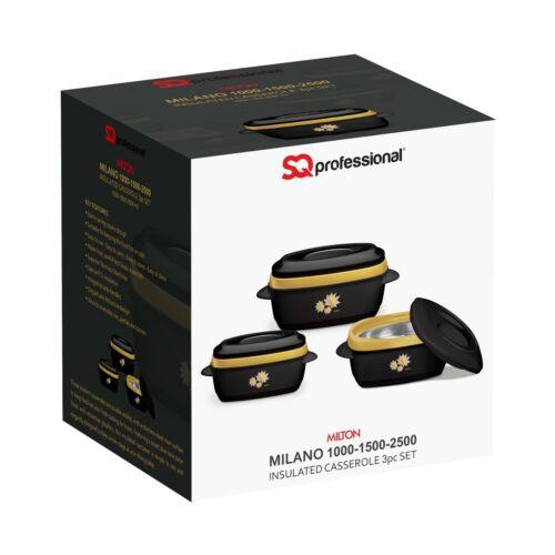 2.5L Black-Gold Sq Professional Milano Insulated Casserole Set 3pc 1L 1.5L