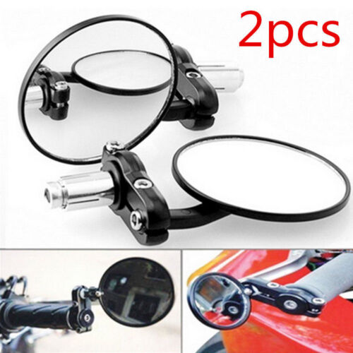 """High Quality Motorcycle Bike Round 7//8/"""" Handle Bar End Side Rearview Side Mirror"""