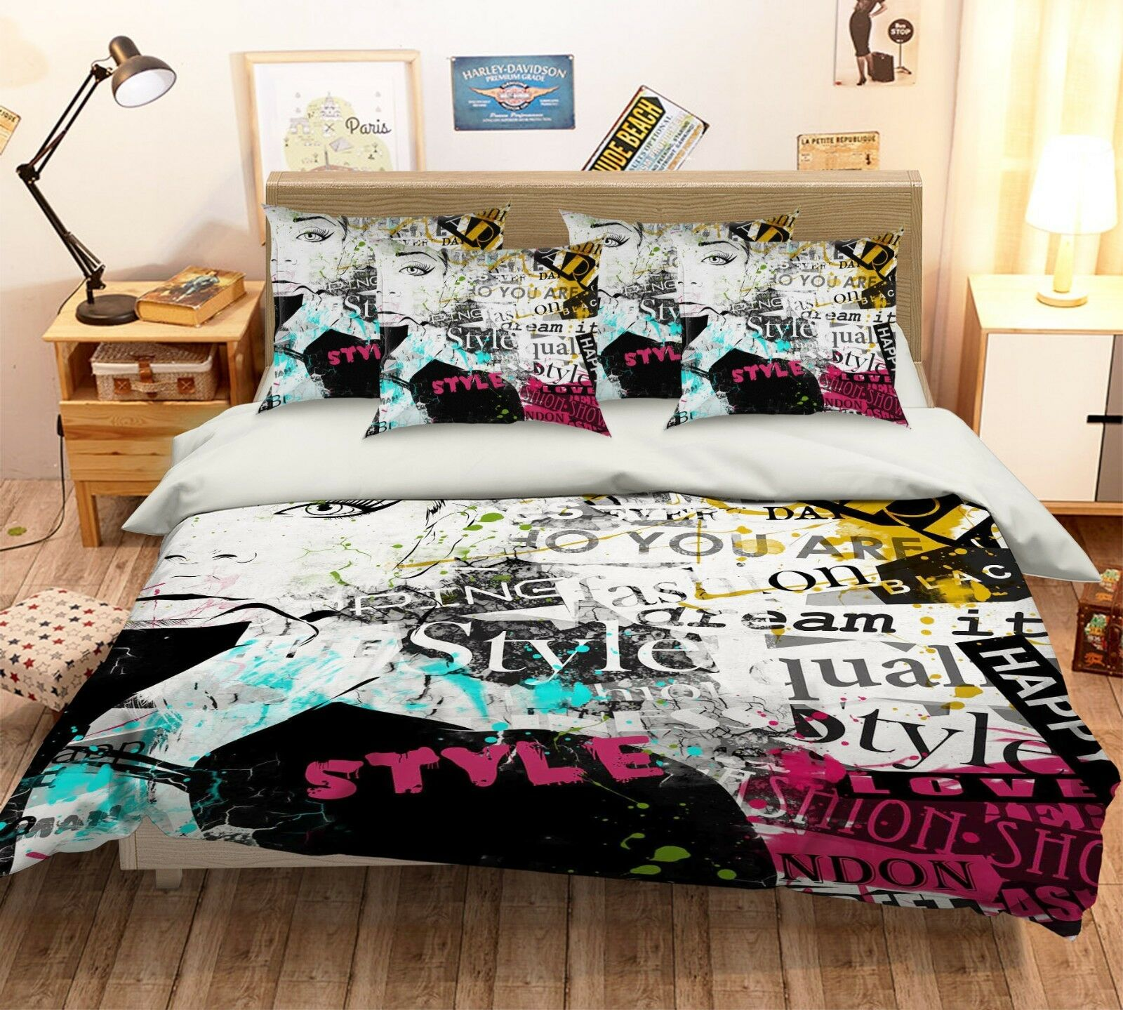 3D Graffiti Art 40 Bed Pillowcases Quilt Duvet Cover Set Single Queen King AU