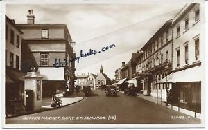 BURY-ST-EDMUNDS-Butter-Market-cars-amp-K1-Telephone-Kiosk-vintage-postcard-pu-1950