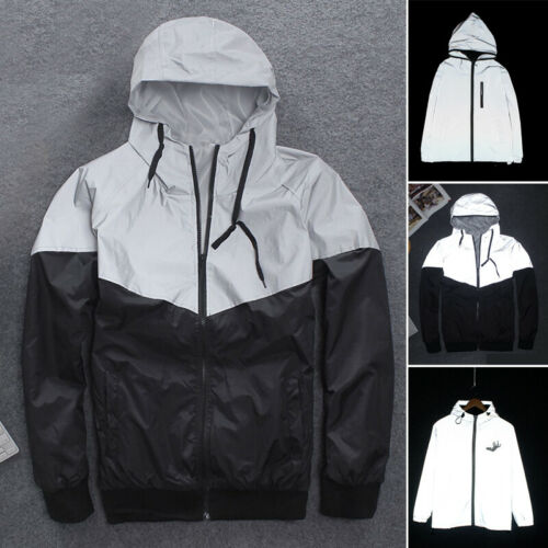 Women Men Couple Reflective Waterproof Printing Hooded Windbreaker Jacket Coat