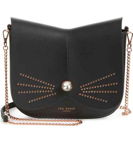 NWT Authentic Ted Baker London Chriiss Cat Stud Black Leather Crossbody Bag