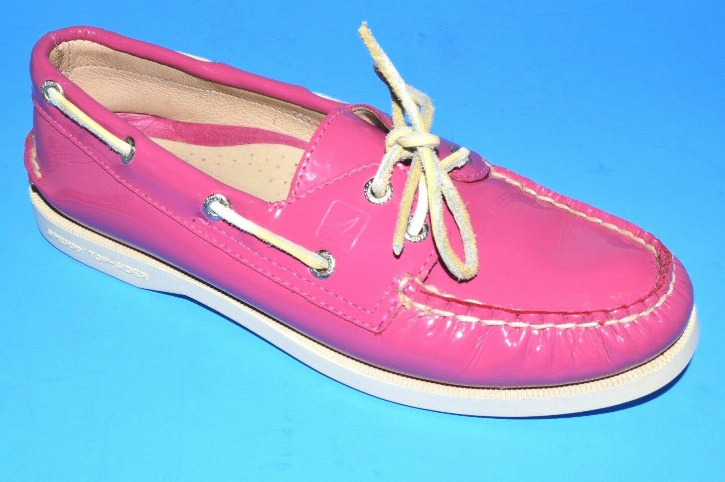 SPERRY TOP-SIDER BOAT SHOE, PINK PATENT LEATHER, SIZE 6 M
