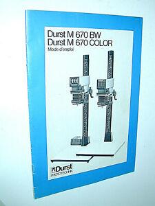 DURST notice M 670 BW et M 670 COLOR 20x30 cm agrandisseur photo photographie