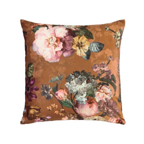 ESSENZA Zierkissen Dekokissen Fleur Lederbraun Blumen Motiv Blüten Samt 50x50 cm